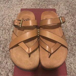 Tan colored strappy sandals SUPER COMFORTABLE